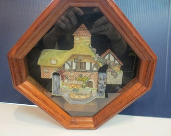 David Winter Retired Pershore Mill Framed in Shadow Box 1990