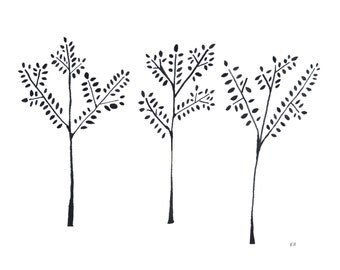Tree Silhouettes, Original Painting, 11by14 Minimalist Black Art Ink Painting, Bamboo Drawing, Delicate Trees, Black and White, Monochrome
