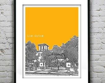 Los Gatos California Skyline Art Print Poster CA Version 1 Old Town
