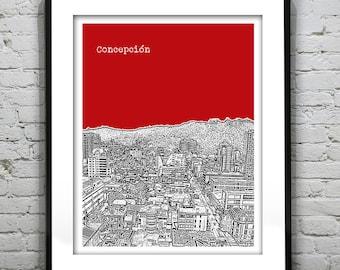Concepción Chile Poster Print Skyline Art South America Version 1
