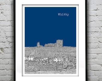 Whitby Skyline Poster Art Print England UK Whitby Abbey Version 2