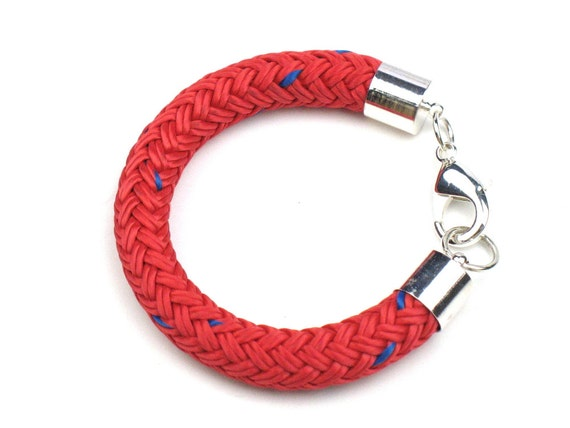 Nautical Rope Bracelet in Red and Blue Boating Cord with Silver Accents