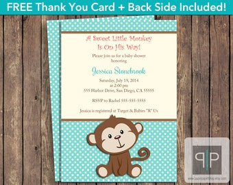INSTANT DOWNLOAD Monkey Baby Shower Invitation, Editable Monkey Baby Shower Invitation, Printable Boy Monkey Baby Shower Invitation