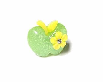 Green apple ring, fruit ring, food ring, apple ring