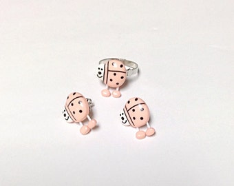 Peach ladybug ring and earring set, insect jewelry, bug jewelry