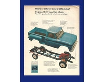 """GMC TRUCK Original 1966 Vintage Extra Large Color Print Ad - Blue Pickup; View of Frame and Engine """"What's So Different About A GMC Pickup?"""""""