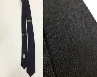 Vintage Skinny Black Tie with White Embroidery Details