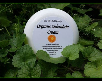 ORGANIC CALENDULA CREAM, Handmade Herbal Calendula Cream, Organic Healing Cream, Vegan and Gluten Free Herbal Cream,