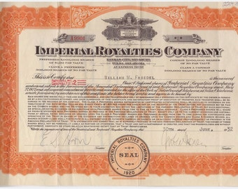 1932 Imperial Royalties Co. Boom/Bust Stock Cert. #A9901