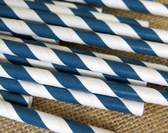 Dark Blue and White Striped Paper Straws - 25 Count - Birthdays, Weddings, Bridal Shower, Baby Shower