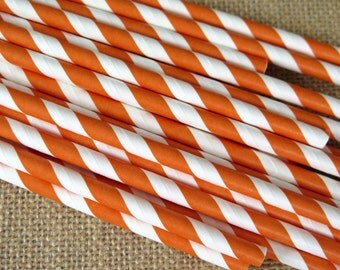 Striped Paper Straws - Orange and White - 25 Count - Birthdays, Weddings, Bridal Shower, Baby Shower