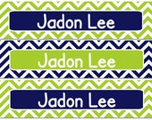 Personalized Waterproof Labels Waterproof Stickers Name Label Dishwasher Safe Daycare Label School Label - Navy and Green Chevron