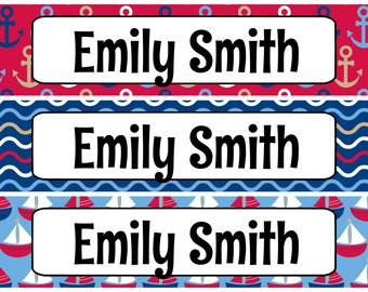 Personalized Waterproof Labels Waterproof Stickers Name Label Dishwasher Safe Daycare Label School Label - Nautical