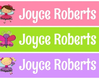 Personalized Waterproof Labels Waterproof Stickers Name Label Dishwasher Safe Daycare Label School Label - Lil Cute Girly Birds