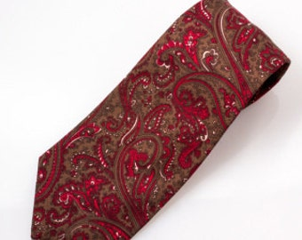 The Rose and Brown Paisley Necktie