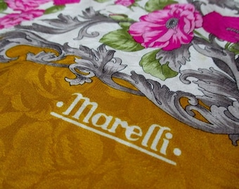 Vintage Marelli Pink Flowers Pattern with Texture 100% Silk Scarf - Free Shipping