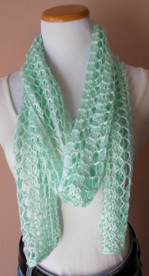 mint green scarf knit light weight lacy by