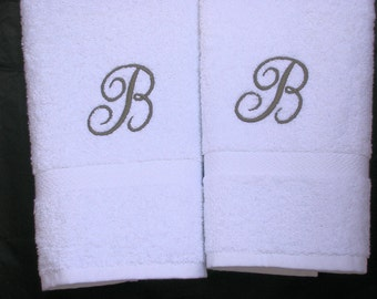 Monogrammed  Towels- Letter Towels- Cotton Hand Towels- Wedding Towel Gift Set