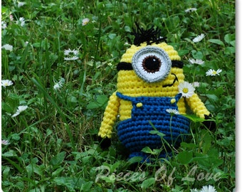 Crochet Minion Toy, Handmade Yellow Minion, Knitted Papoy, Minion Amigurumi