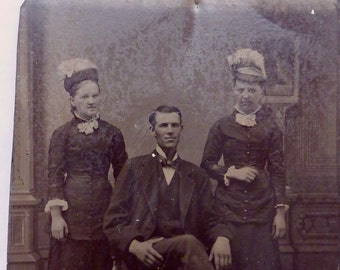 Antique 1870s Tintype Photo Photograph Family Portrait 20607