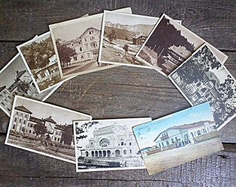 SET of 9 Vintage Postcards, various buildings Images