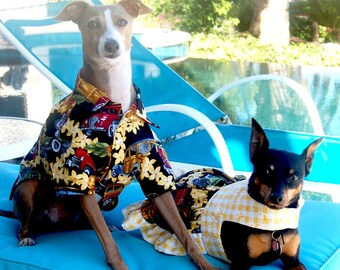Tropical Woodies Design Hawaiian Dog Shirt and Dog Dress Combo