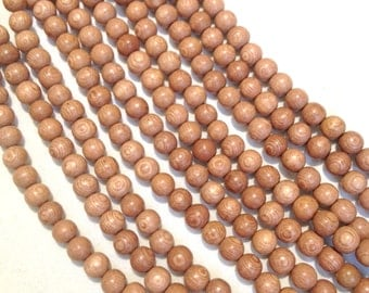 8mm Rosewood Natural Wood Beads 16 inch Strand, 50 Beads Mala Beads Rose Wood