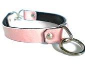 Baby Pink Leather BDSM Lockable Bondage Collar- locking padlock choker w/Bondage ring, for sub slave or fetish