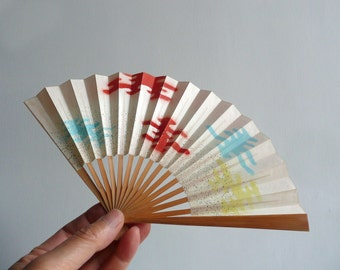 Small folding fan - Japanese vintage - tea ceremony fan - mist - women's - WhatsForPudding #798