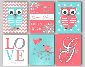 Owl Nursery, Owl Wall Art, Owl Bedding Decor, Owl Nursery Bedding Decor, Baby Bird, Birth Statistics, Girl Monogram - Choose Colors OW1564