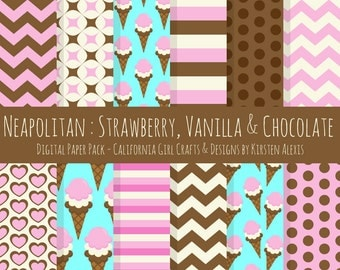 "Neapolitan Ice Cream Digital Paper Pack - Instant Digital 12"" x 12"" Download - Strawberry, Vanilla & Chocolate"