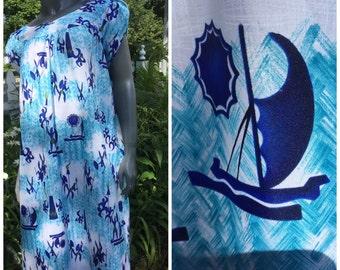 Vintage hawaiian dress , mummu, blues ,tribal , Sears , Luau
