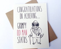 Funny Birthday Card. Congratulations On Achieving Grumpy Old Man Status! Gentleman Raccoon