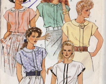 Vintage 1989 Easy McCall's Pattern 4162 DRESSY BLOUSES Misses XS 6-8