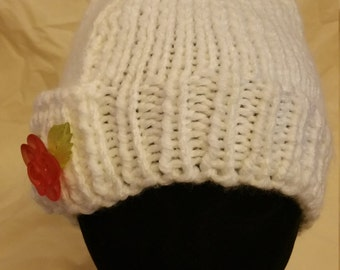 White knit hat with rose accent