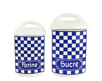 SPECIAL OFFER! - Old earthenware spice jars with square pattern - Blue and White - Sugar and flour
