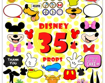 Instant Download 35 Pieces Disney mickey mouse Inspired Photo Booth Props Photobooth Printable Clubhouse Birthday Party