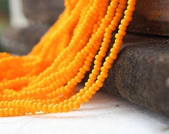 Opaque Dark Yellow,Orange Opaque color Seed Beads (5 strands)