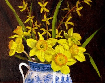 daffodils in Blue willow vase original oil painting dutch style still life impressionism