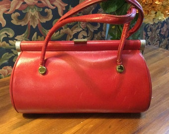 Vintage Red Leather Handbag