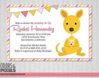 Kangaroo Baby Shower Invitation, Safari DIY Baby Shower Printable Invitation, Kangaroo with Joey Baby Shower Printable Invite BS010