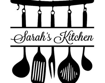Personalized kitchen utensils vinyl wall decal