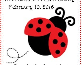 60 Ladybug Birthday Party Favor Tags