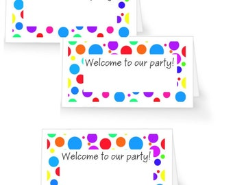 12 Colorful Birthday Party Place Cards