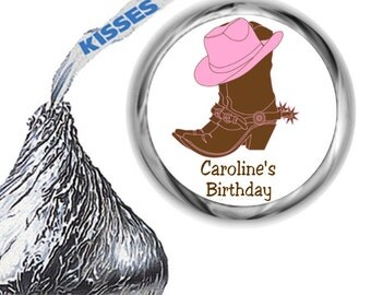 108 Cowgirl Birthday Party Hershey's Kiss Labels