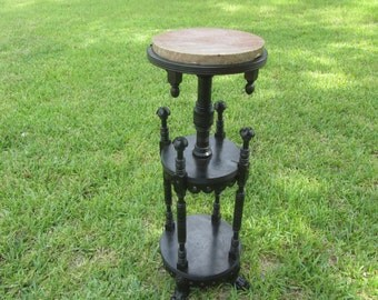Antique fern stand, Victorian, plant stand,flower stand,ornate table,marble top, vintage decor, ebonized wood,