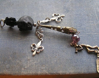 Louisiana Voodoo Good Luck Voodoo Doll Pendant Statement New Orleans Saints Colors Black Roses purple crystal Jazz Singer