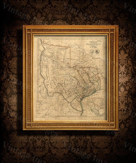 Old Texas Map 1841 Vintage Texas Historical map Antique