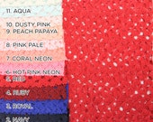 Bette Lace SINGLE SWATCH Sample Cuts Color Swatches 13 Colors Available Lace Fabric - Style 371
