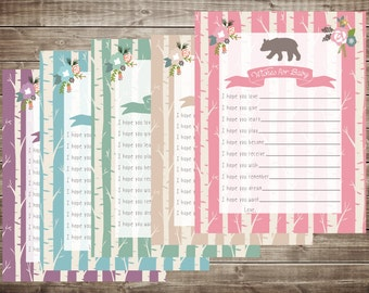 INSTANT DOWNLOAD Rustic Bear Wishes for Baby Shower Activity